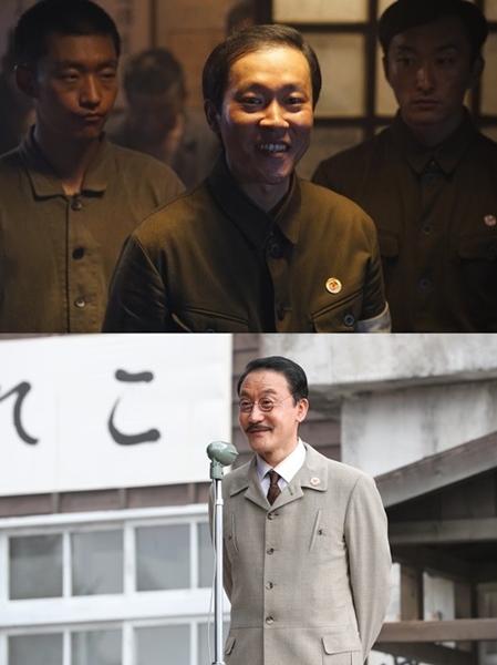 映画『軍艦島』でヤマダ役を演じたキム・ジュンヒ(上)とシマサキダイスケ役を演じたキム・インウ。