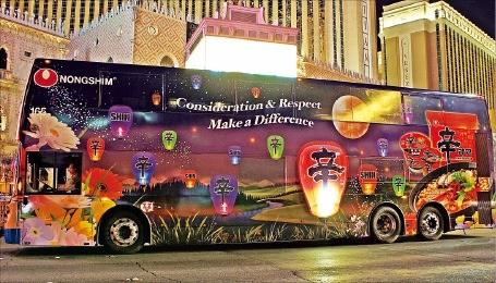 米ラスベガスの農心バス広告。