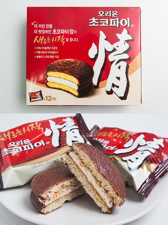 韓国の国民的おやつとして不動の人気を誇るのが、「チョコパイ情(チョコパイジョン)」(オリオン製菓、12個入り、3,840ウォン)。チョコレートでコーティングされたケーキ生地でマシュマロがサンドされており、ほっこり優しい甘さとしっとり感が病みつきになります。