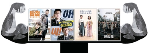 男映画に挙げられる(左から)『探偵なふたり』『青年警察』『鬼郷』『軍艦島』