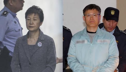 朴槿恵前大統領(左)とチョン・ホソン前秘書官(写真=中央日報)