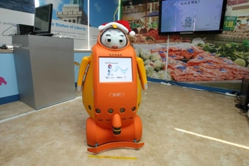 KIST知能ロボット開発事業団が国策課題として開発した英語教師ロボット「Engkey(インキー)」(写真=中央フォト)