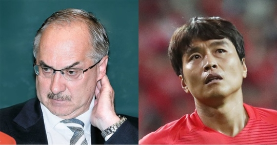 ウリ・シュティーリケ前韓国代表監督(左)と李東国(イ・ドングク)