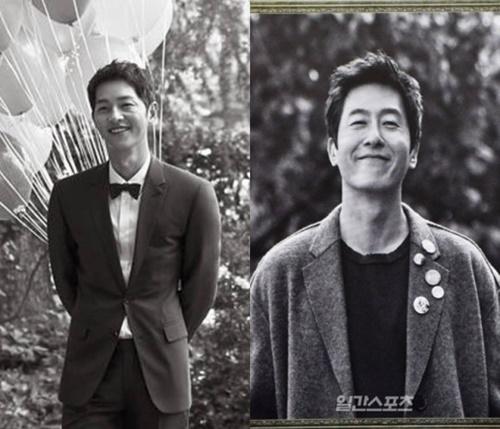 俳優のソン・ジュンギ(左)と故キム・ジュヒョクさん