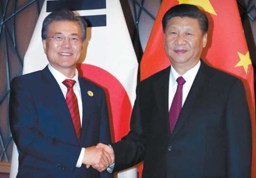 APEC首脳会議に出席中の文在寅大統領と習近平中国国家主席が11日午後にベトナム・ダナンのクラウンプラザホテルで会い首脳会談に先立ち握手を交わしている。(写真=青瓦台写真記者団)