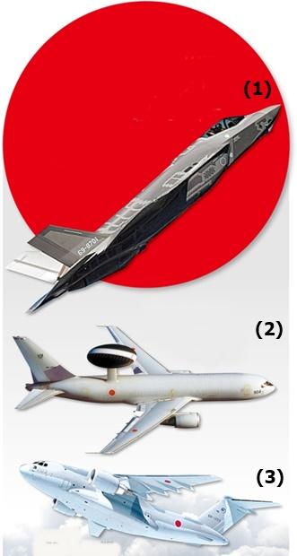 (1)F-35Aステルス戦闘機(2)E-767早期警戒管制機(3)C-2輸送機