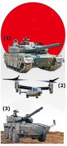 (1)10式戦車 (2)V-22オスプレイ垂直離着陸機 (3)16式機動戦闘車