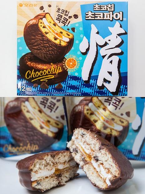 韓国で幅広い世代に愛される「チョコパイ情(チョコパイジョン)」(オリオン製菓、12個入り、4,980ウォン)。生地にチョコチップ、マシュマロ部分にマーマレードジャムが入った新商品が好評!韓国土産に流行中の新フレーバーを試してみてはいかがでしょうか?