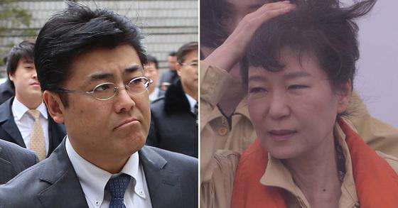 加藤達也・産経新聞元支局長(左)と朴槿恵前大統領(右)。(写真=中央フォト)