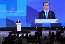 文在寅大統領が9日午後、江原道龍平で開かれたオリンピック開会式レセプションで歓迎のあいさつをしている。(青瓦台写真記者団)