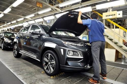 現代車・蔚山(ウルサン)第1工場の小型SUV「コナ」の生産ライン(写真提供=現代車)