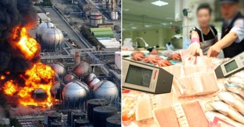 2011年の福島原発爆発当時(左)と2013年に携帯用放射線測定器で水産物の汚染を調べる場面(右)(中央フォト)