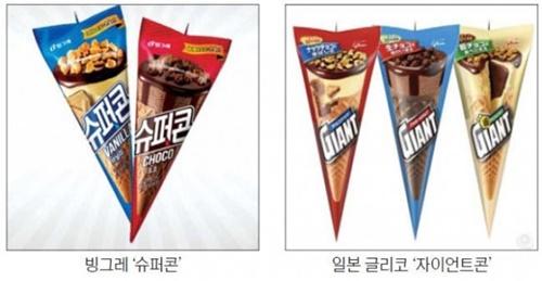 韓国ピングレ「スーパーコーン」(左)、日本グリコ「ジャイアントコーン」
