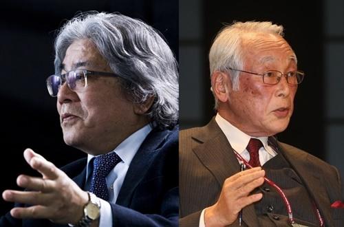 小此木政夫慶応大名誉教授(左)、秋山昌廣元防衛事務次官(写真=中央フォト)