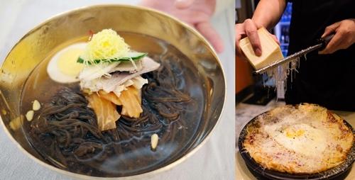 平壌(ピョンヤン)「玉流館(オクリュクァン)」の冷麺(左)、スイス料理レシュティ(右)