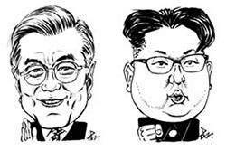 文在寅(ムン・ジェイン)大統領(左)と金正恩(キム・ジョンウン)国務委員長