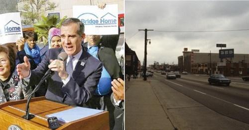 エリック・ガルセッティLA市長が韓人タウンのホームレス集団居住地の必要性を強調している(左)。右の写真は07年のLA韓人タウン(LA中央日報、中央日報)。