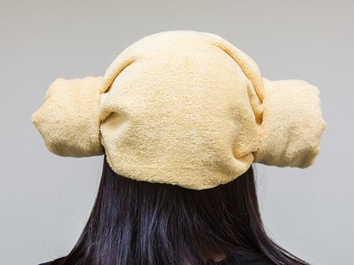 自分の頭にフィットするヤンモリの出来上がり!チムジルバンに行ったら試してみて下さい!