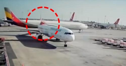 アシアナ旅客機が13日(現地時間)、トルコ・イスタンブールの空港で別の航空機と衝突した。(写真=YouTube)