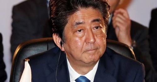 9日午前、東京都赤坂の迎賓館で第7次韓日中首脳会議に参加している安倍首相。(写真提供=青瓦台写真記者団)