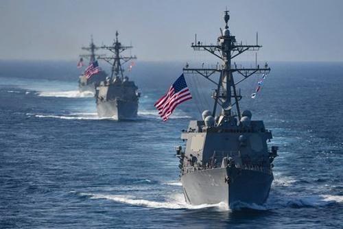 第7艦隊所属のイージス艦が海上訓練で機動している。世界最強という名声を持つ第7艦隊も太平洋軍司令部配下部隊だ。(写真=米太平洋軍司令部)