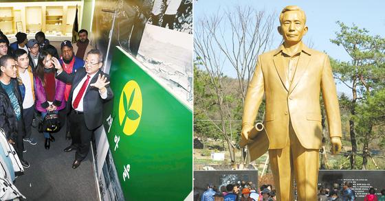 セマウル運動に関する歴史の説明を聞く外国人。右側の写真は亀尾市にある朴正熙元大統領の銅像(写真=中央フォト)