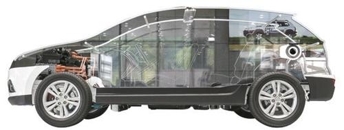 現代車研究所に展示された燃料電池車「ツーソン」