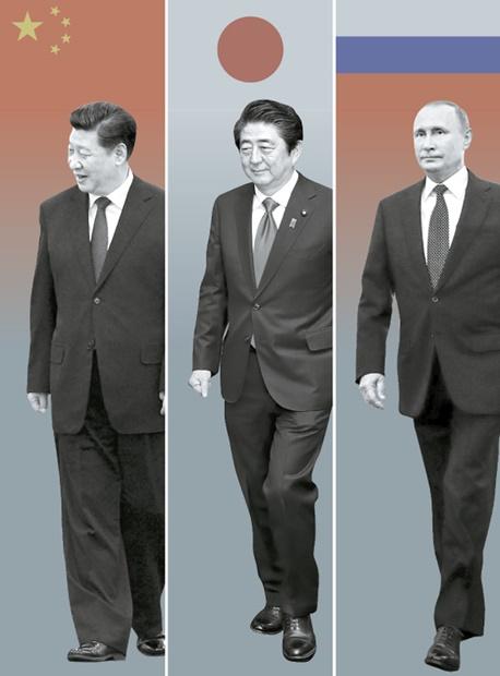 習近平国家主席、安倍晋三首相、プーチン大統領