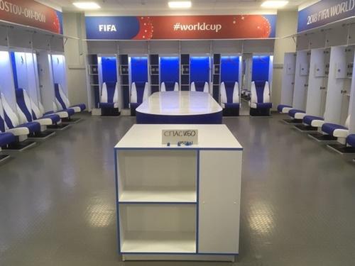 試合後、清掃された日本代表チームのロッカールーム(写真=プリシラ・ヤンセンス氏のツイッター)