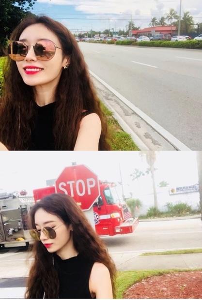 海外で笑顔を見せている写真を自身のインスタグラムにアップした韓国の女性アイドルグループ、T-ARA(ティアラ)のジヨン。