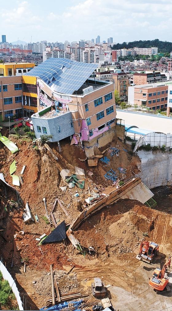 7日にドローンで撮影されたソウル上道幼稚園の建物。