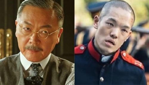 イ・ワンイク役の俳優キム・ウィソン(左)とツダ役の俳優イ・ジョンヒョン(右)