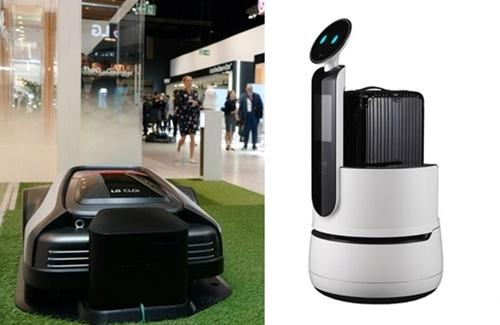 現在試験運営中のLGエレクトロニクスの芝刈りロボット「クロイ・ローンボット」は近く発売される予定。(写真左=LGエレクトロニクス)、荷物を運ぶロボット「クロイ・ポーターボット」はホテルなどでキャリアを運んだりチェックイン・チェックアウトなどを担当する。