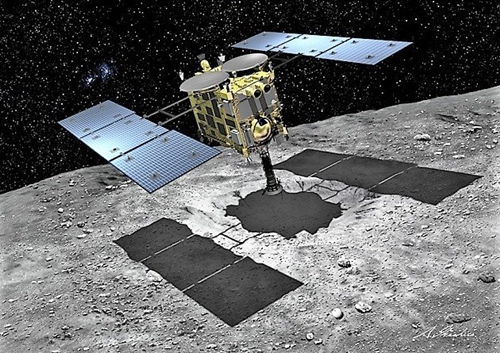 小惑星探査機「はやぶさ2」がリュウグウに着陸してサンプルを採取するグラフィック。(写真提供=JAXA)