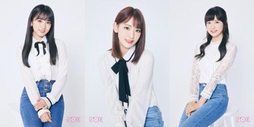韓日女性アイドルグループIZ*ONEの日本人メンバーの(左から)矢吹奈子、宮脇咲良、本田仁美。