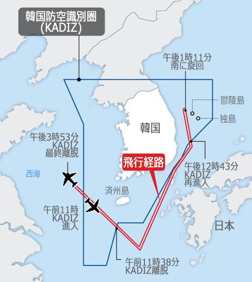中国軍用機の飛行経路