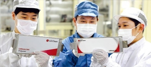 LG化学従業員が忠清北道梧倉のバッテリー工場で生産された二次電池製品をチェックしている(写真=LG化学提供)