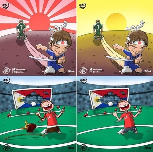 <上>日本チームの背景に描かれていた旭日旗が消えたもの。<下>韓国チームのイラストで、鎧からズボンに描き直されたもの。(写真提供=徐敬徳教授チーム)