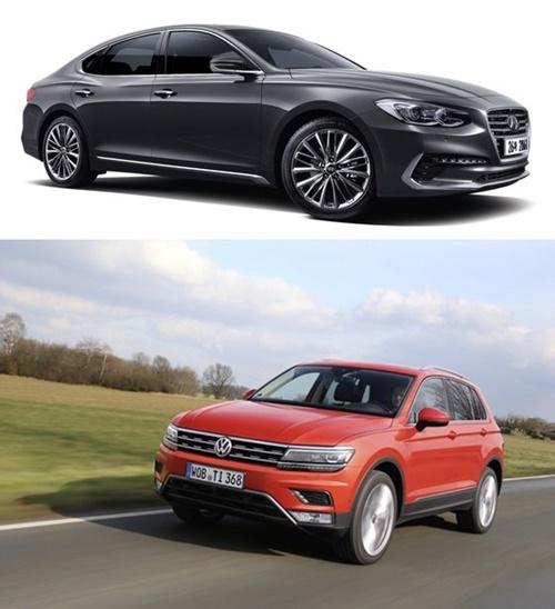 <上>昨年、国産車内需販売1位を記録した現代自動車の準大型セダン「グレンジャー」。(写真提供=現代自動車)<下>昨年4月に発売されたフォルクスワーゲン準中型SUV「ティグアン(Tiguan)」。(写真提供=VWコリア)