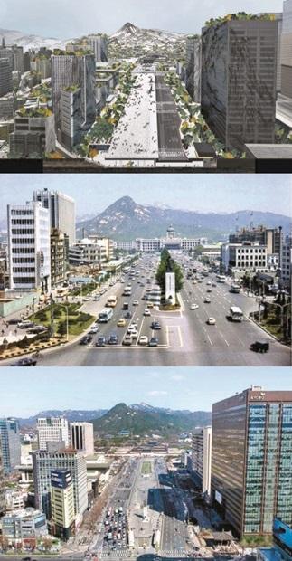 上からぞれぞれ2021年(イメージ図)と1974年、2009年の光化門広場の様子(写真提供=ソウル市)