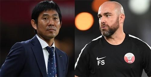 2月1日にアジアカップ優勝をかけて対戦する日本代表とカタール代表。森保一監督(左)とフェリックス・サンチェス監督の知略対決が注目される。(AFC公式ホームページ)