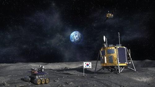 韓国の月探査船が月面に着陸した姿を想像したコンピューターグラフィックイメージ。政府は2018年2月に発表した第3次宇宙開発振興基本計画で、条件付きで2030年までに月着陸船を打ち上げると明らかにした。(写真航空宇宙研究院)