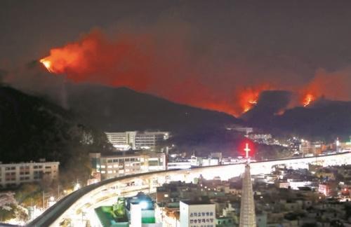 2日午後、韓国釜山海雲台山の火事拡大で住民が緊急避難した。
