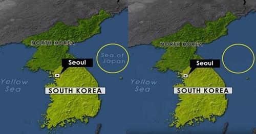 米国CBS『サンデーモーニング』が東海を日本海(Sea of Japan)と表記した地図で、「日本海」の部分を消してYouTubeに掲載した。左は21日に掲載されていた地図、右は23日に修正された地図。(写真=YouTubeチャンネル「CBS Sunday Morning」からのキャプチャ)