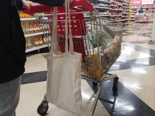 29日、買い物をしているある市民のエコバックにはショッピングバッグがもう一つ入っている。
