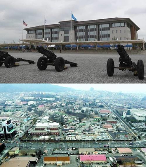 平沢(ピョンテク)米軍基地(写真上=共同取材団)、龍山(ヨンサン)米軍基地(写真下)