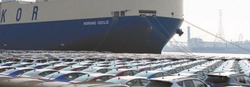 現代自動車蔚山工場の埠頭で輸出を待つ自動車(中央フォト)