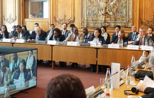 OECD閣僚理事会貿易投資セッションで発言する兪明希通商交渉本部長(写真=産業部提供)