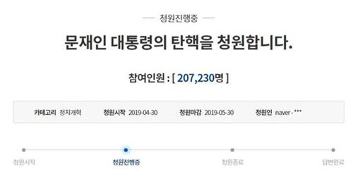 文在寅(ムン・ジェイン)大統領の弾劾を要求する請願(青瓦台ホームページのキャプチャー)