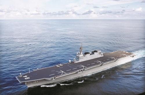 2015年に新たに建造された日本海上自衛隊ヘリコプター搭載護衛艦「かが」。